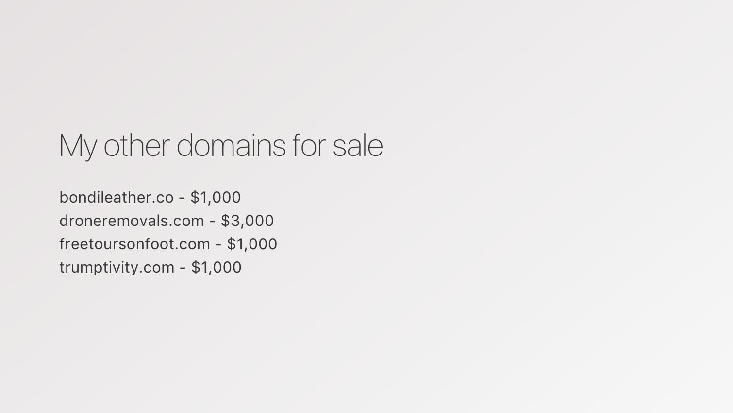 List all your domains